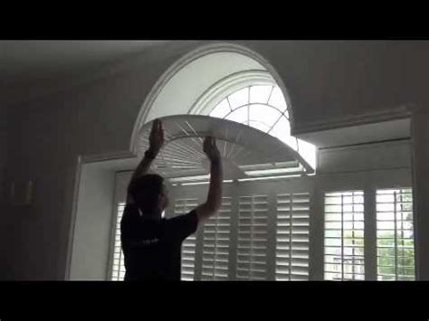 Fan Shades For Arched Windows Designs Operating Shaped Window Shutters With A Curved Fan Top See How The Louvre Blades Move