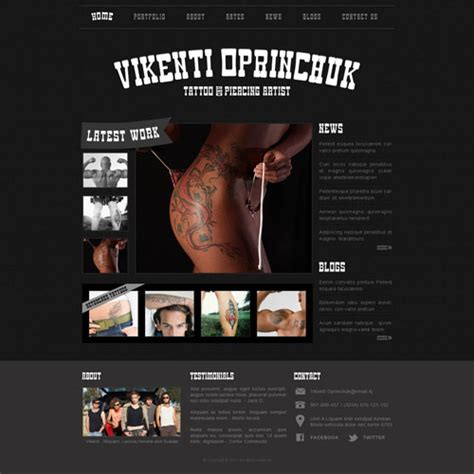 tattoo parlor website template free website templates