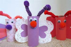 To make a butterfly from toilet paper tube rolls valentine craft idea