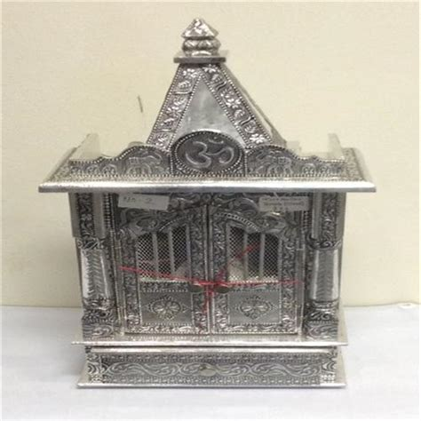 buy small puja mandir for home oxidized silver metal