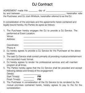 Dj Booking Contract Template by Dj Contract 12 Documents In Pdf