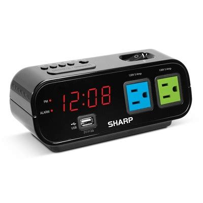 outlet digital alarm clock black sharp 174 target