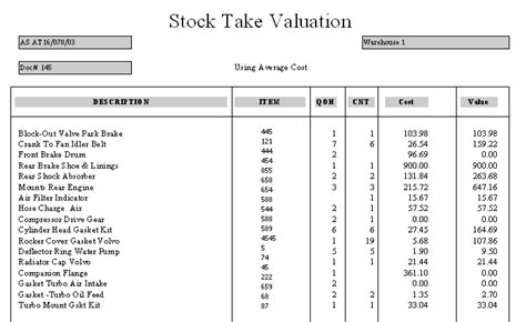 stocktake w sheet value avg gt inv report