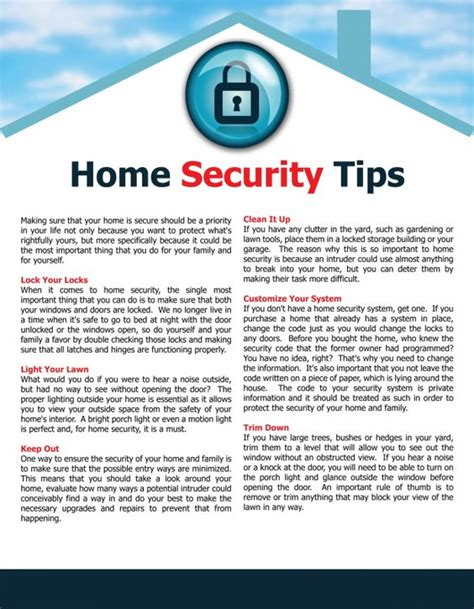 security tips home ownership and why not on