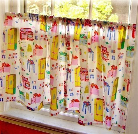 Vintage Kitchen Curtains Retro Vintage Style Kitschy Kitchen Cafe Curtains By Fussygussy
