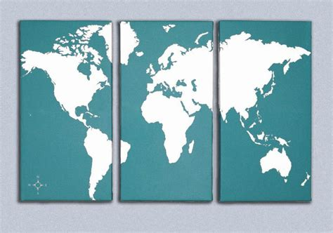 world map canvas world map triptych canvas giclee teal and white