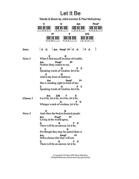 lyrics and piano chords let it be sheet by the beatles lyrics piano
