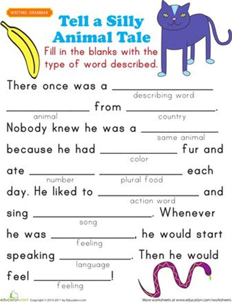 printable animal stories fill in a funny story 5 for kids simply filling and