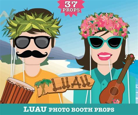 printable luau photo booth props 25 best ideas about luau photo booths on pinterest