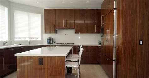 high gloss walnut veneer cabinetry contemporary kitchen