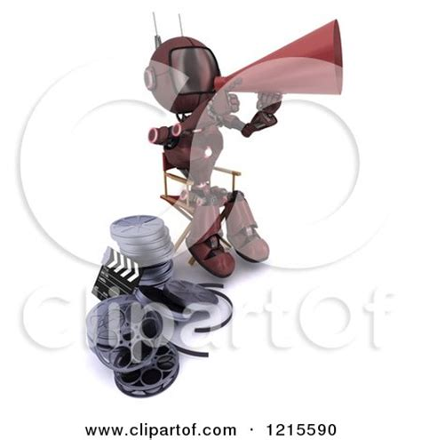 robot film director name clipart of a 3d red android robot movie director using a