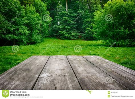 wooden table  green nature background stock image