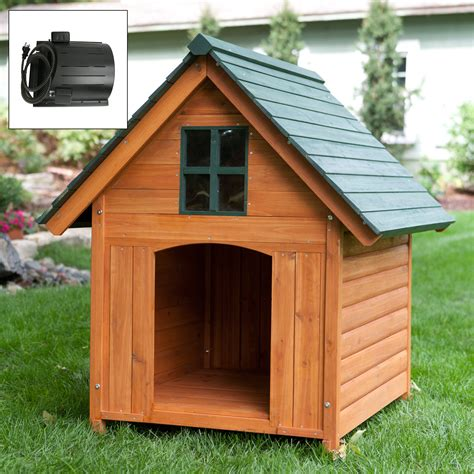 how to heat an outdoor dog house boomer george t bone dog house with heating cooling unit package at hayneedle