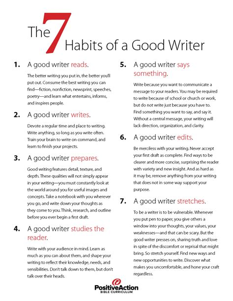 7 Ways To Become A Better Writer by The Seven Habits Of A Writer Positive For