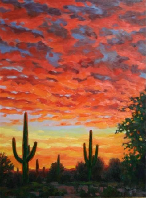 landscape and western art giclee canvas print western impressionistic arizona desert sunset landscape home and garden