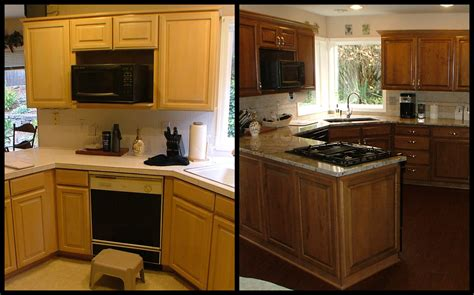 reface kitchen cabinets before and after before and after refacing kitchen cabinets island granite