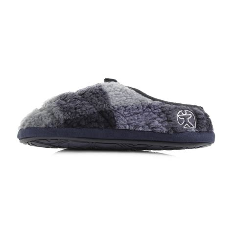 bedroom slippers for men mens bedroom athletics gibson navy black white fleece