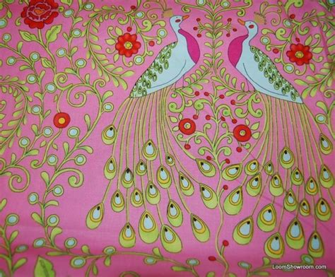 Peacock Quilt Fabric by Peacock Monaco Peacock Bird Feathers Flowers Cotton Fabric