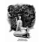 Gangsta Clown Girl With Skulls Tattoo Design