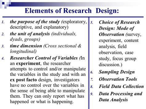 experimental design elements business research process step 6 research design ppt