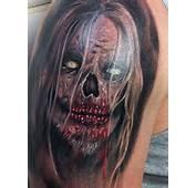 Scary Animated Tattoo On Right Half Sleeve