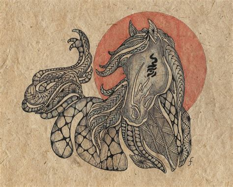 zentangle pattern horse pattern play with pens galloping into 2011