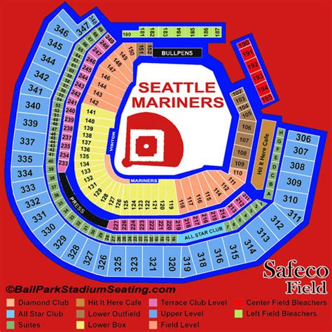 seattle mariners map safeco field seating chart view new map 2017