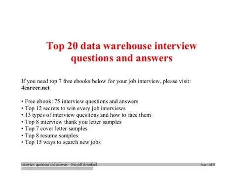 top data warehouse questions and answers tips