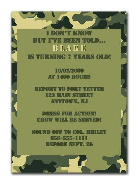 free printable birthday invitations army 13 best images about party favors on pinterest gi joe