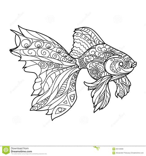 Gold Fish Coloring Book For Adults Vector Stock Vector Fish Coloring Pages For Adults