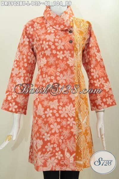 Batik Dress Kerah Kuning dress batik orange kombinasi kuning model kerah miring