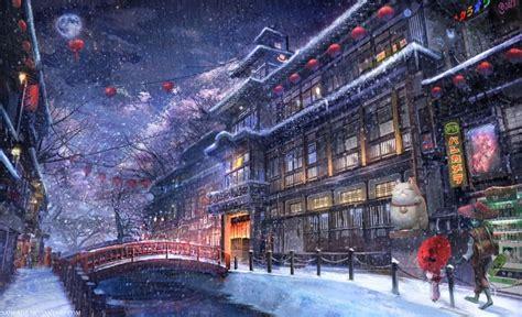 wallpaper anime traditional city raining snow moon