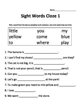 Cloze Reading Worksheets by Dolch Sight Words Cloze Activities 3 Worksheets By Mrs