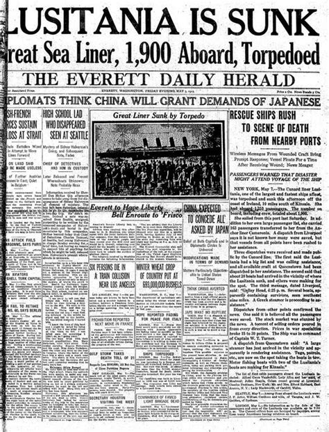 Sinking Of The Lusitania Newspaper Article world war i the o jays and world on
