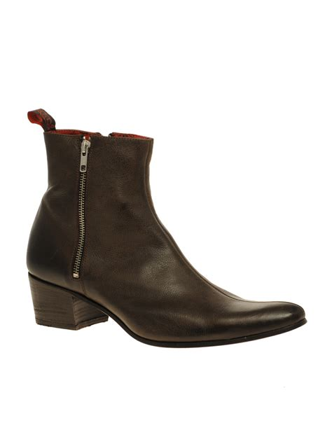 jeffery west muse side zip cuban heel boots in brown for