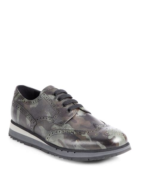 wingtip sneakers prada camouflage wingtip sneakers in green for