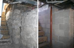 in basement wall before after failing basement wall