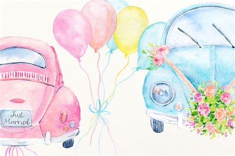 wedding car clipart watercolor clipart wedding cars by cornercroft