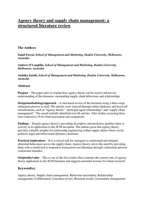 Green Supply Chain Literature Review by Literature Review For Supply Chain Management