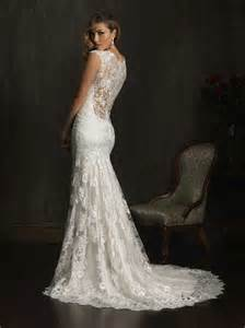 Neck lace wedding dress with illusion lace back slim destination