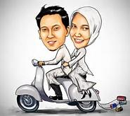 foto karikatur muslim pasangan romantis