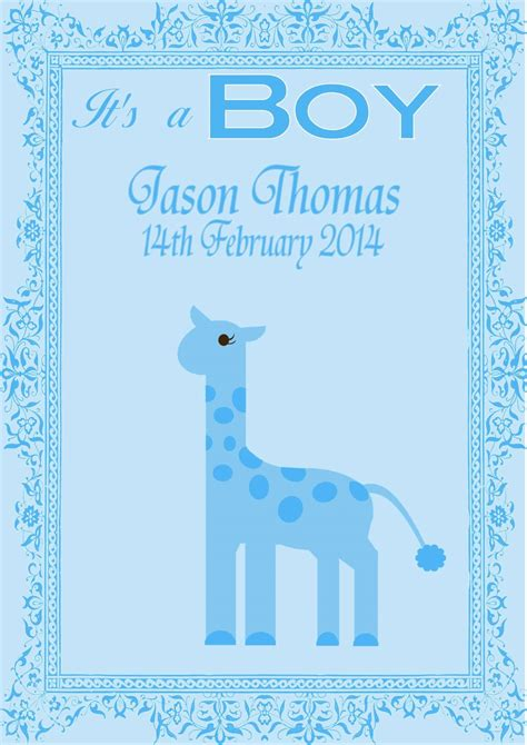 Gift Card Messages For New Baby Boy - personalised new baby boy card design 6