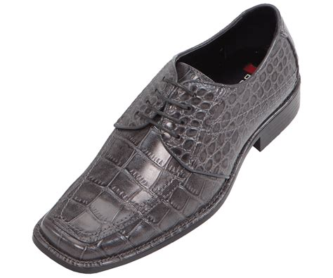 wide mens dress shoes bolano mens wide width grey croc print oxford dress shoe