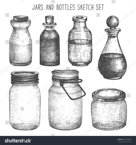 small decorative drawings vector collection of ink hand drawn mason jars and bottles