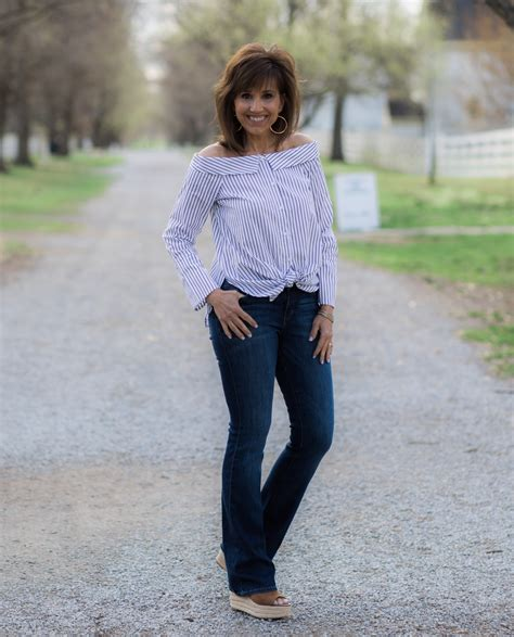 jeans for women in their 40 stripe top with bootcut jeans grace beauty