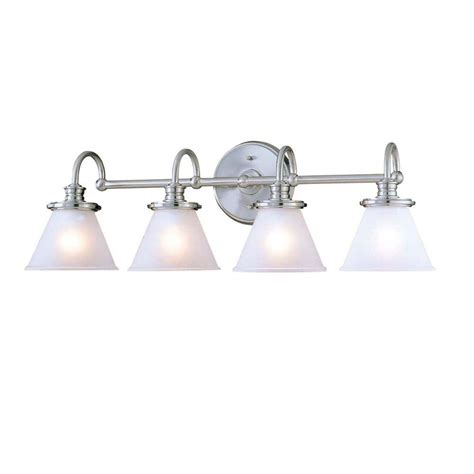 home depot bathroom vanity light fixtures hton bay 4 light brushed nickel wall vanity light