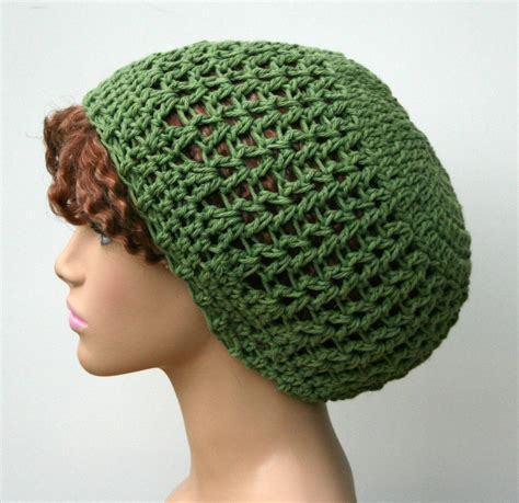 Handmade Crochet Hats - green cotton handmade crochet slouchy beanie hat rosemary