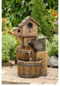 Rooster Chandeliers Rustic Bird House Outdoor Water Fountain Contemporary