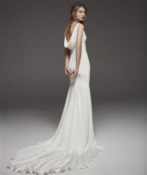 sleeveless  neck simple silk sheath wedding dress