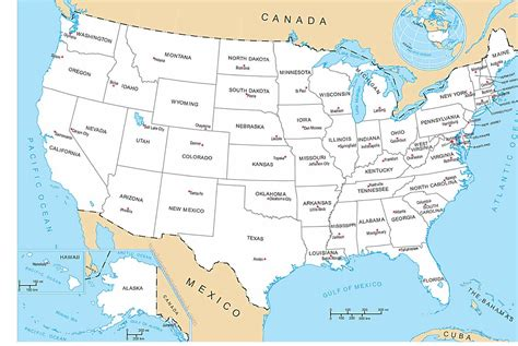 united states map   states capital cities